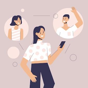 Online-videoanrufe mit alten und neuen freunden
