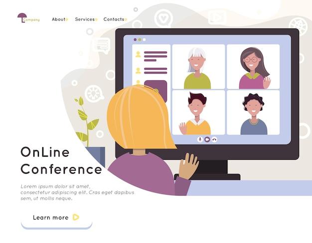 Online-videokonferenz, videoanruf, fernkommunikation mit freunden, fernlernen oder arbeiten. lernen und arbeiten von zu hause aus. quarantäne. flache vektorillustration. design-elemente