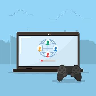 Online videospiele netzwerk von laptop