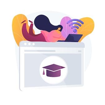 Online-vorbereitung für den unterricht. internet-hausaufgaben, universitätsaufgabe, college-online-aufgaben. junge frau, die fernklassenwebsite benutzt.