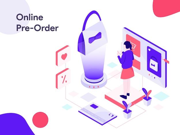 Online vorbestellung isometrische illustration