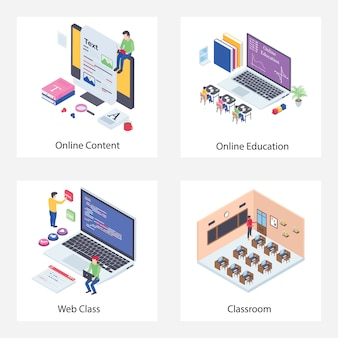 Online-vorlesung isometrische illustrationen