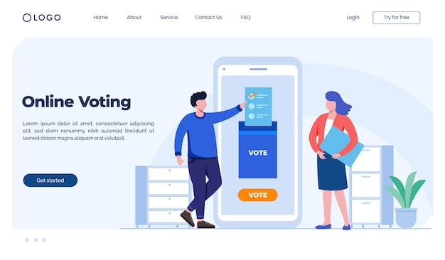 Online-voting-landingpage-konzept