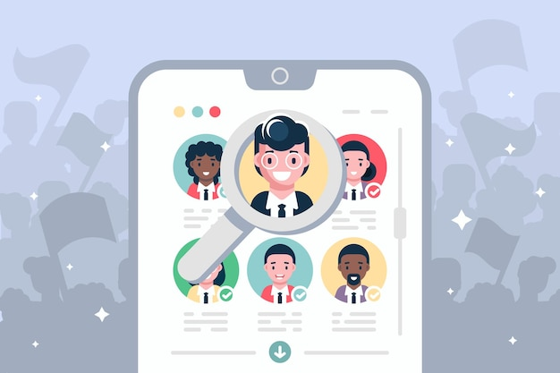 Online-wahlabstimmung auf moderner smartphone-illustration