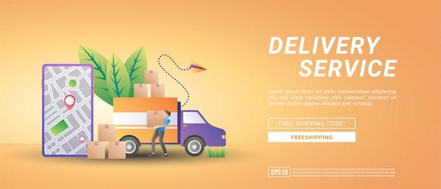 Online-warenlieferdienste. lieferung zu hause und im büro, kostenlose lieferung und schnelle lieferung.