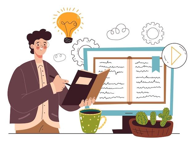 Online-web-fernstudium, das das konzept der informationsgestaltungselemente studiert