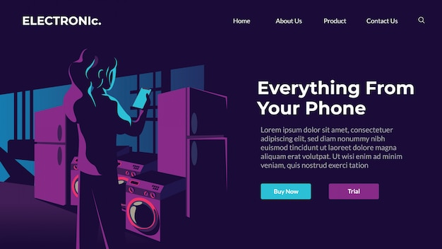 Online-webillustration des elektronischen designthemas