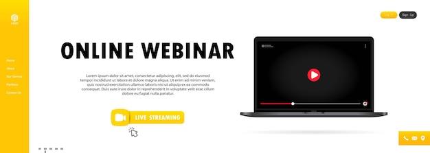 Online-webinar auf laptop-illustration ansehen. online-lektion, vortrag, seminar, training, kurs. vektor auf isoliertem hintergrund. eps 10