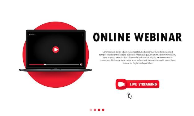 Online-webinar auf laptop-illustration ansehen. online-lektion, vortrag, seminar, training, kurs. vektor auf isoliertem hintergrund. eps 10.