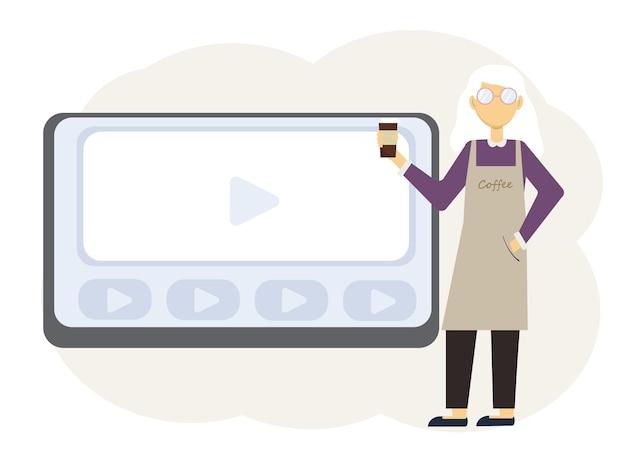 Online-webinar-illustration für coffeeshop-besitzer