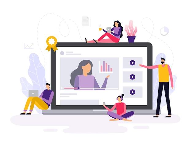 Online-webinar im flat design