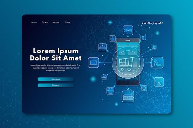 Online-webvorlage für futuristisches einkaufen