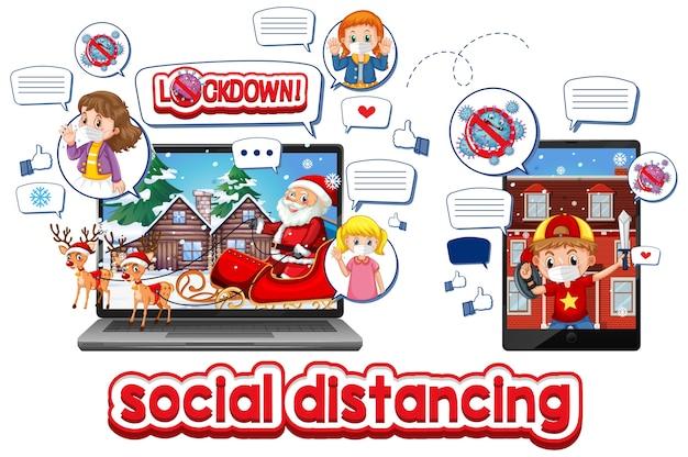 Online-weihnachtsfeier über mobile geräte