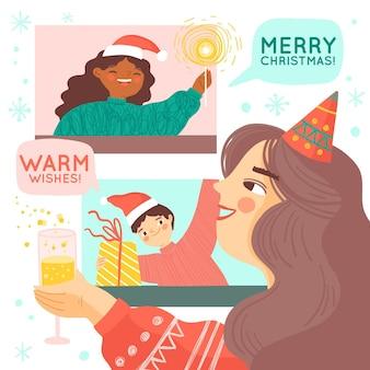 Online-weihnachtsfeierillustration