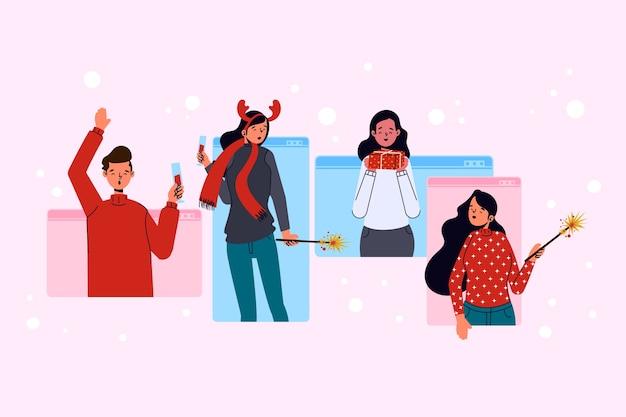 Online-weihnachtsleute feiern über virtuelle kommunikation