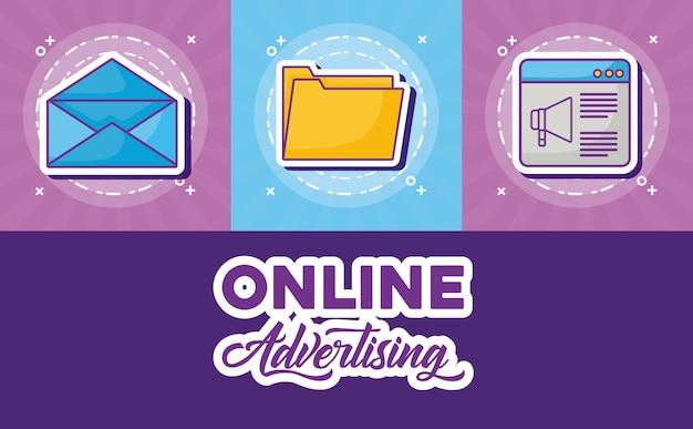 Online-werbung design mit verwandten symbolen
