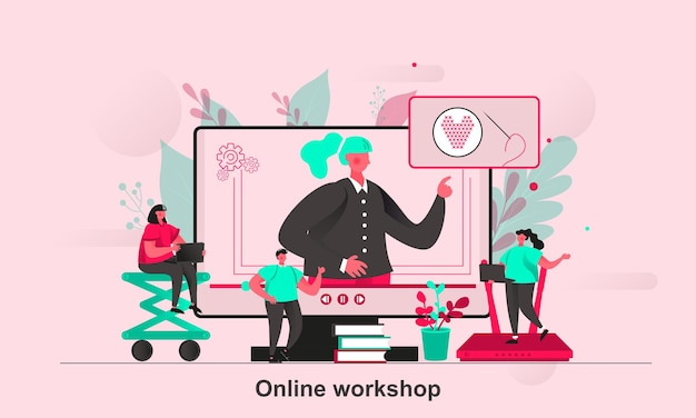 Online-workshop-webkonzeptdesign im flachen stil mit winzigen personencharakteren