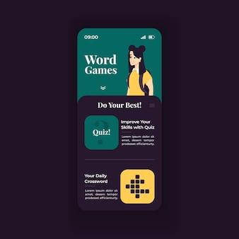 Online-wortspiele smartphone-schnittstellenvektorvorlage. grünes und blaues design-layout der mobilen app-seite. täglicher sprachquizbildschirm. flache benutzeroberfläche für die anwendung. wortschatz verbessern. telefondisplay