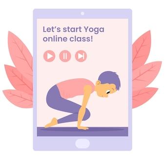 Online yoga klasse illustration konzept