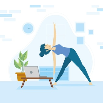 Online yoga klassenkonzept mit frau