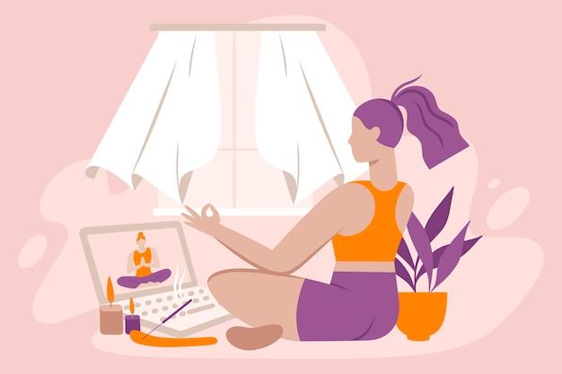 Online yoga kurs illustriert
