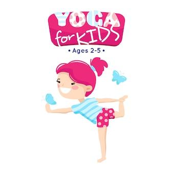 Online-yogaklassen für kleine kinder im blauen rosa karikaturartlogo mit lächelndem kind