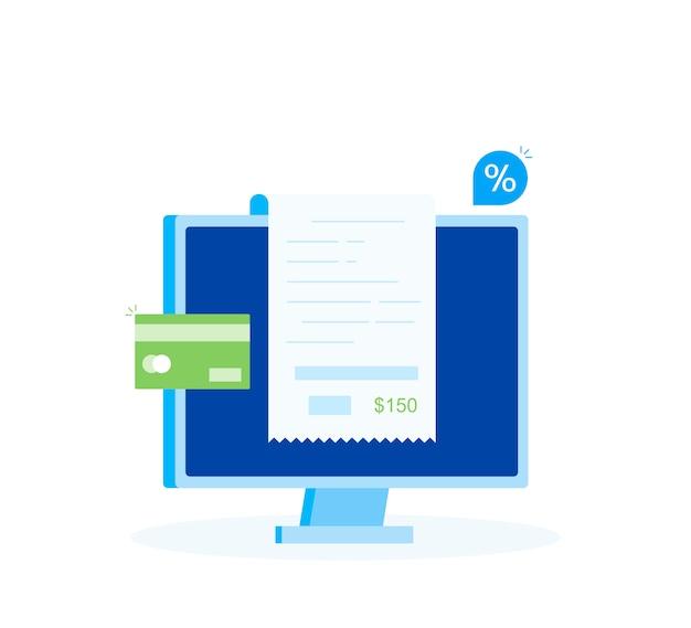Online-zahlung am computer, finanzbuchhaltung, elektronische zahlungsbestätigung mit digitaler quittung. moderner flacher stil