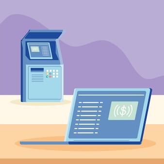 Online-zahlung und geldautomat