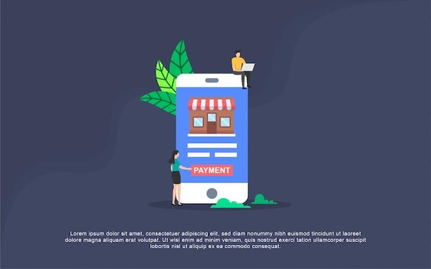 Online-zahlungs-illustrationskonzept mit leutecharakter