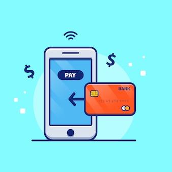 Online-zahlungsabbildung. handy mit debitkarte. technologiekonzept isoliert