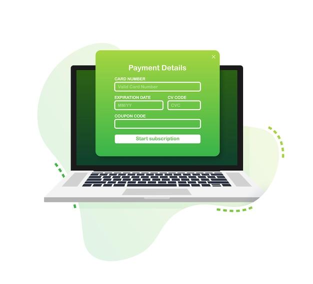Online-zahlungsformular. digitale online-rechnung auf laptop. vektor-illustration.