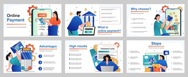 Online-zahlungskonzept für präsentationsfolienvorlage menschen, die für einkäufe bezahlen