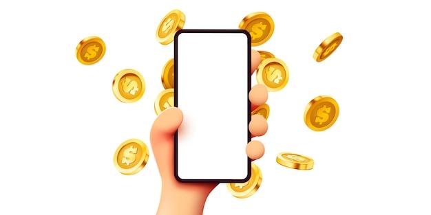 Online-zahlungskonzept mit cartoon-d-handtelefon- und münzgeschäft und geld-online-einnahmen