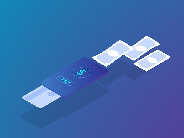 Online-zahlungskonzept mit kreditkarte auf mobilen smartphone vektor isometrisch bezahlen