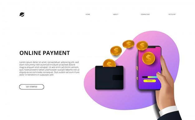 Online-zahlungslandungsseitenillustrationsgeschäftsfinanz-e-commerce-konzept