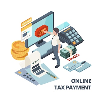 Online-zahlungsrechnung. isometrisches konzept der steuerrechnungsbuchhaltung