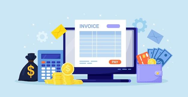Online-zahlungsservice. rechnungsformular auf dem computerbildschirm mit einer schaltfläche zum bezahlen. bankkonto, buchhaltung, buchhaltung. finanztransaktion mit internet. geldbörse mit kreditkarte, geldbeutel