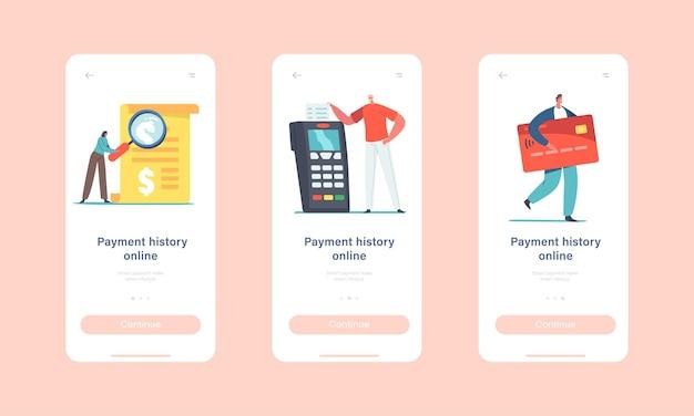 Online-zahlungsverlauf mobile app-seite onboard-bildschirmvorlage. winzige charaktere lesen rechnung an einem riesigen kartenlesegerät