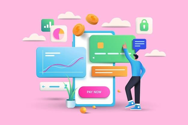 Online-zahlungsvorgangsillustration auf rosa hintergrund