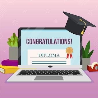 Online-zertifizierung mit laptop