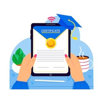 Online-zertifizierung mit tablet