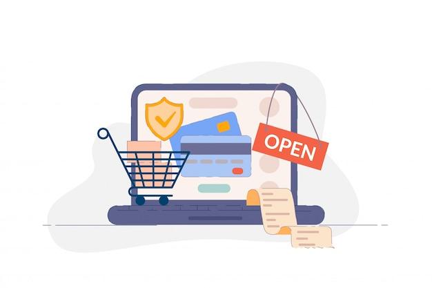 Onlinebezahlung. sicherheitsschild für kreditkartenzahlung auf laptop-bildschirm, einkaufswagen mit einkäufen und rechnung. online-banking internet-service und handel