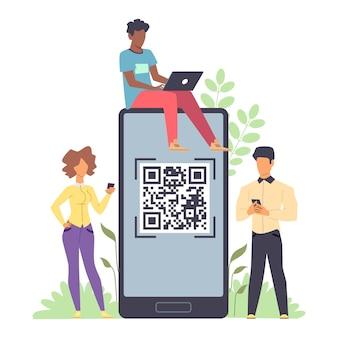 Onlinebezahlung. winzige männer und frauen, die mit telefonen und laptop in den händen stehen und riesiges smartphone mit qr-code auf dem gerätebildschirm zum scannen, vorlage für die flache vektorgrafik des geldtransfers