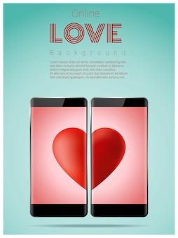 Onlinedatierungskonzept mit zwei smartphones, die rotes herz auf schirm zusammenbringen