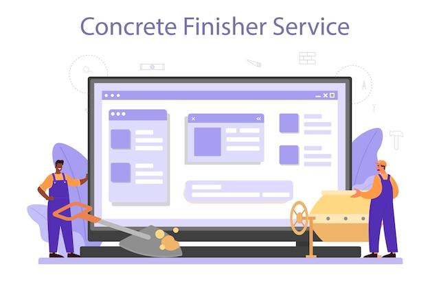 Onlinedienst oder plattform des betonfertigerherstellers.