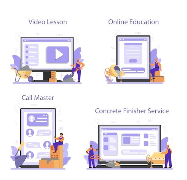 Onlinedienst oder plattformsatz für betonfertigerhersteller Premium Vektoren