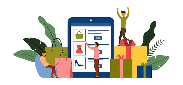 Onlineeinkaufen, e-commerce-konzept mit charakterillustration