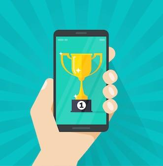 Onlinepreis-zielerreichung oder goldener pokal, die auf mobiltelefonvektor gewinnen