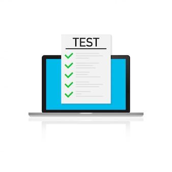 Onlineprüfung, checkliste und bleistift, test machend und wählen antwort, fragebogenform, bildungskonzept