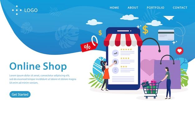 Onlineshop-landing page, website-schablone, einfach zu redigieren und besonders anzufertigen, vektorillustration